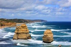 De grote steen, het overzees, het land Stock Foto