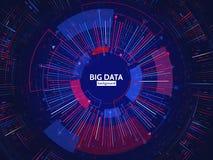 De grote structuur van de gegevensverbinding Abstract element met lijnen, punten en binaire code Grote gegevensvisualisatie Royalty-vrije Stock Fotografie
