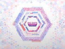 De grote structuur van de gegevensverbinding Abstract element met lijnen, punten en binaire code Grote gegevensvisualisatie Stock Fotografie