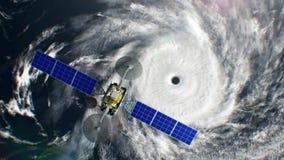 De grote tropische cycloon op achtergrond, fictieve weersatelliet vliegt voorbij, 3d animatie Alle texturen werden binnen gecreee vector illustratie