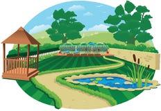 De grote tuin van het land met vijver Royalty-vrije Stock Afbeeldingen