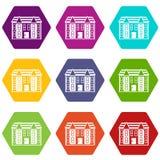 De grote two-storey vastgestelde kleur van het huispictogram hexahedron Royalty-vrije Stock Afbeeldingen