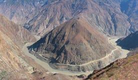 De grote u-Draai van de rivier Yangtze royalty-vrije stock foto's