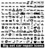 De grote vastgestelde pictogrammen van de autoreparatie Stock Afbeelding