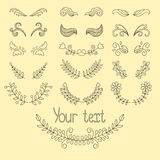 De grote vector plaatste: kalligrafische ontwerpelementen en paginadecoratie met kronen, lijnenverdelers Stock Afbeelding