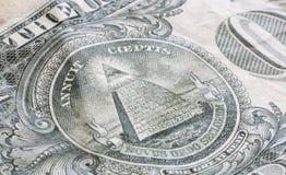 De Grote Verbinding op de V.S. Één Dollarrekening stock afbeelding