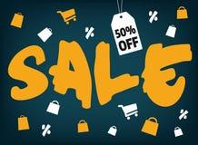 De grote verkoop van de borstelstijl met het winkelen pictogrammen op dark Royalty-vrije Stock Fotografie