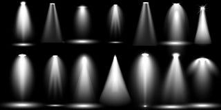 De grote verlichting van de Inzamelings Realistische witte Scène op zwarte achtergrond stock illustratie