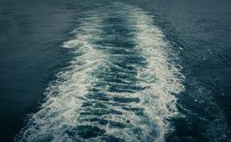 De grote witte stegen worden gecreeerd in het overzees van het grote schip dat de haven verliet royalty-vrije stock fotografie