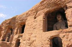 De Grotten Boeddhistische holen van Unesco Yungang, China Stock Foto's