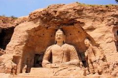 De Grotten Boeddhistische holen van Unesco Yungang, China Stock Afbeelding