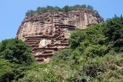 De Grotten van Maijishan Stock Afbeeldingen