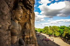 De Grotten van Yungang Stock Foto