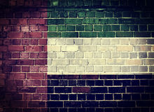 De Grunge Verenigde Arabische vlag van Emiraten op een bakstenen muur Royalty-vrije Stock Afbeeldingen