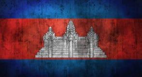 De Grunge verfrommelde vlag van Kambodja het 3d teruggeven Stock Fotografie