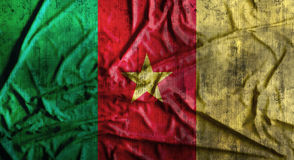 De Grunge verfrommelde vlag van Kameroen het 3d teruggeven Stock Afbeeldingen