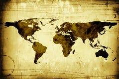 De grungy wereldkaart Stock Foto's