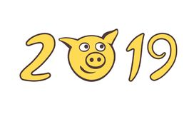 De gulliga piggy tystar ned i nummer av 2019 stock illustrationer