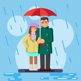De gulliga plana älska paren i regnvektorillustrationen Royaltyfri Foto