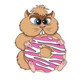 De gulzige hamster zit met koekjes Op witte achtergrond Stock Foto