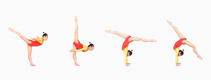 De gymnastiek stelt royalty-vrije stock foto's