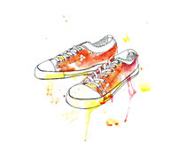 De gymschoenentennisschoenen van de sportenjeugd royalty-vrije illustratie