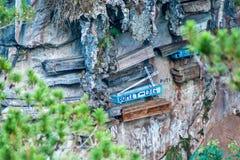 De hängande kistorna av Sagada Arkivfoton