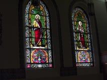 De härliga fönstren av det Loretto kapellet i domkyrkan av St Francis av Assisi i Santa Fe New Mexico Arkivfoto