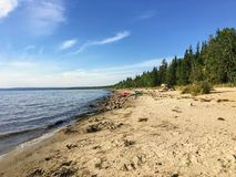 De härliga sandiga stränderna längs Marten Beach och vattnet av den slav- sjön i nordliga Alberta, Kanada på en varm sommardag royaltyfria bilder