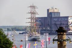 De högväxta skepploppen, högväxt skepp Dar Mlodzierzy som lämnar hamnen royaltyfri bild