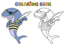 De haai van de beeldverhaalpiraat Stock Afbeelding