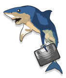 De haai van het beeldverhaal met aktentas Stock Foto's