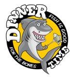 De haaiillustratie van de dinertijd Leuke het glimlachen hongerige haai, die vissen op vork gaan eten stock illustratie