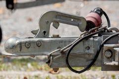 De haak van de close-upaanhangwagen voor boten of andere Stock Foto