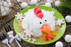 De haancake van de haancake, kippencake, kippencake, vogelcake - Fe Royalty-vrije Stock Foto