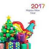 De haanhaan van het Plasricine nieuwe jaar Stock Afbeeldingen