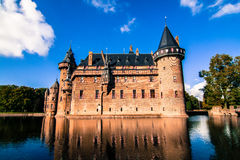 De Haar Castle, the Netherlands. De Haar Castle is the biggest and most luxurious castle of the Netherlands. With its towers, turrets, moats, gates and Royalty Free Stock Photo