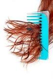 De haarborstel heeft verward in haar stock afbeeldingen