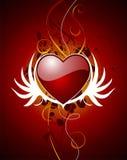 De haard van de valentijnskaart met vleugel Royalty-vrije Stock Foto's