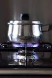 De haardplaat en de pan van het gas Stock Foto