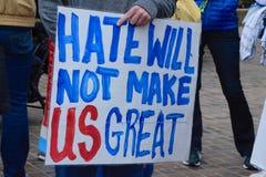 De haat zal ons niet Groot maken Royalty-vrije Stock Foto's
