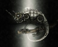 De hagedis van de Steampunkstijl royalty-vrije stock foto's