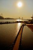 De Haihe-rivier door schemering Stock Fotografie