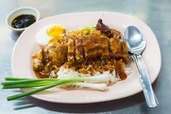 De Hainanese del pollo del arroz plato tradicionalmente imagen de archivo libre de regalías