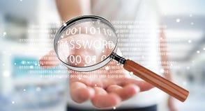 De hakker die digitaal vergrootglas met behulp van om wachtwoord 3D te vinden geeft terug Royalty-vrije Stock Foto