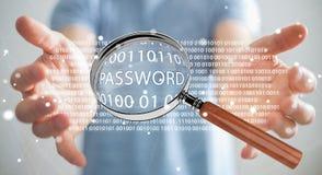 De hakker die digitaal vergrootglas met behulp van om wachtwoord 3D te vinden geeft terug Stock Fotografie
