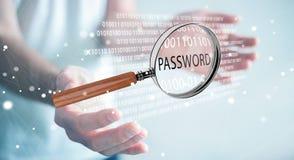 De hakker die digitaal vergrootglas met behulp van om wachtwoord 3D te vinden geeft terug Royalty-vrije Stock Fotografie