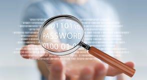 De hakker die digitaal vergrootglas met behulp van om wachtwoord 3D te vinden geeft terug Stock Foto's