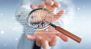 De hakker die digitaal vergrootglas met behulp van om wachtwoord 3D te vinden geeft terug Stock Afbeelding