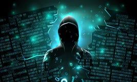 De hakker die Internet gebruiken binnendrong in een beveiligd computersysteem abstracte computerserver, gegevensbestand, netwerko vector illustratie